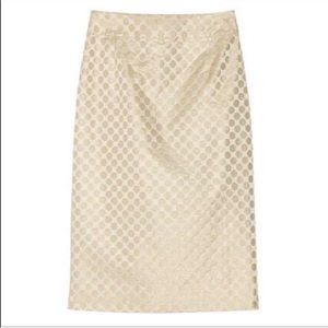J. Crew Pembridge Dot Pencil Skirt Gold Metallic